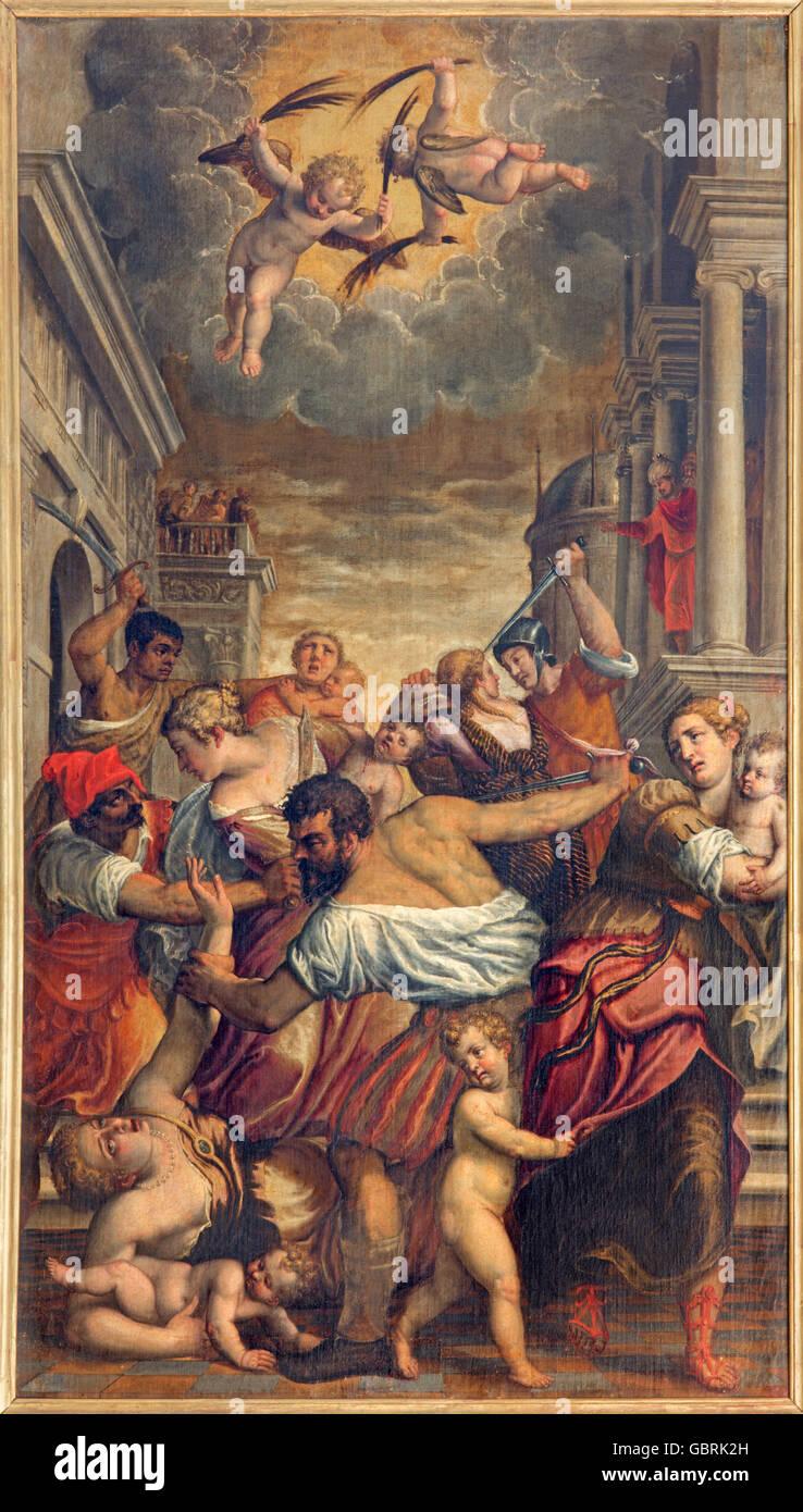 BRESCIA, ITALY - MAY 22, 2016: The painting Massacre of the Innocent in church Chiesa di Santa Maria del Carmine - Stock Image
