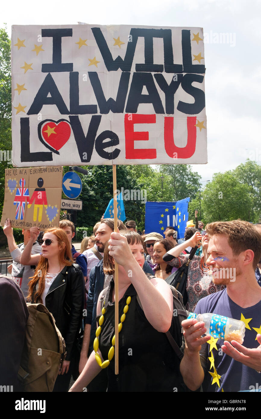 London, UK , 2 July 2016: Protesters on the March for Europe demonstration - Stock Image