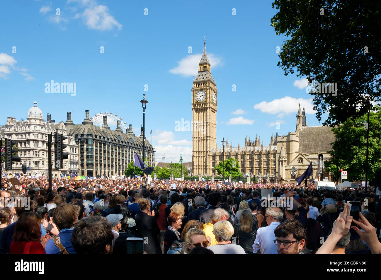London, UK , 2 July 2016: Protesters at Parliament Square on the March for Europe demonstration - Stock Image
