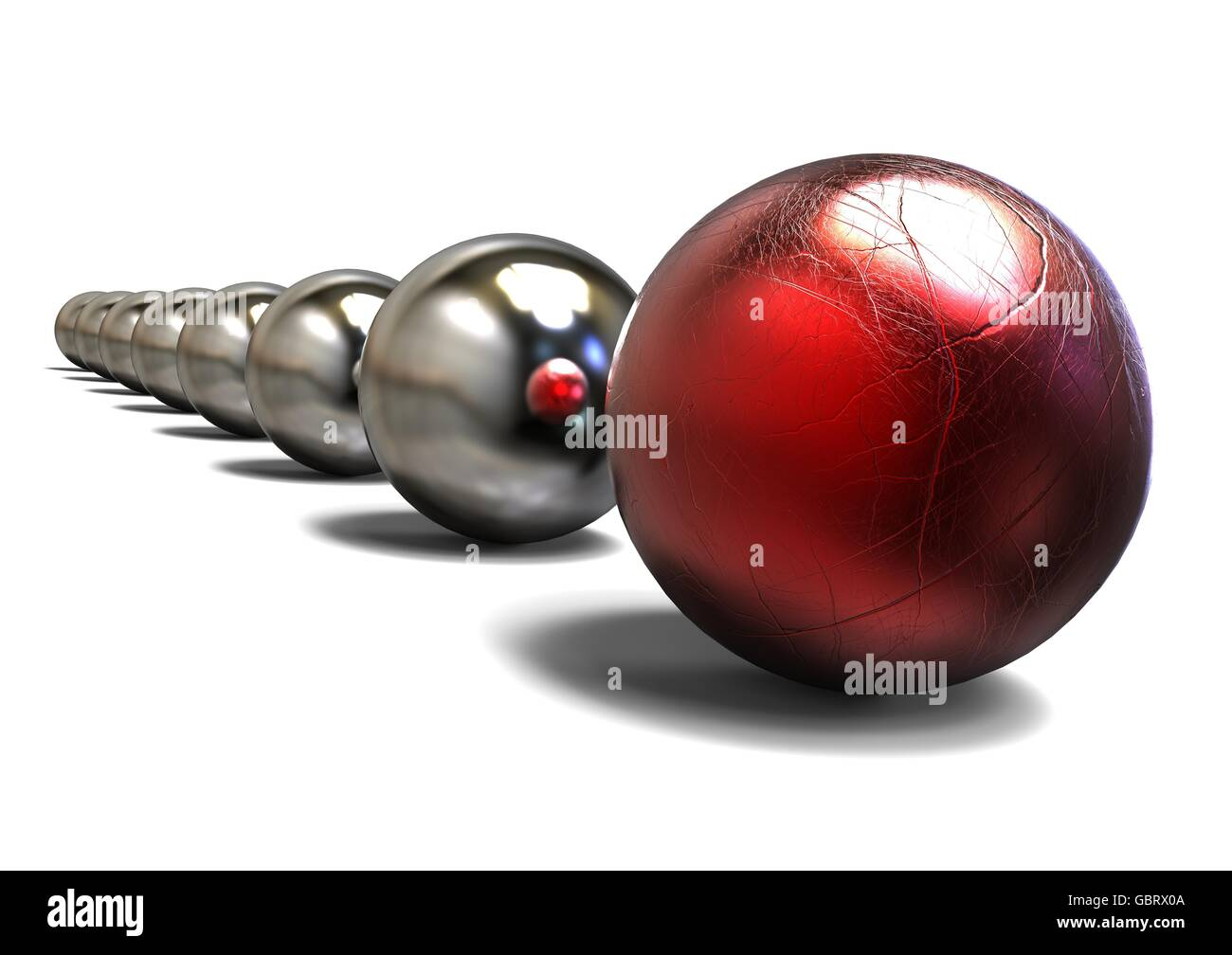 3D render image of a row of sphere representing an experienced Leader with battle scars. - Stock Image