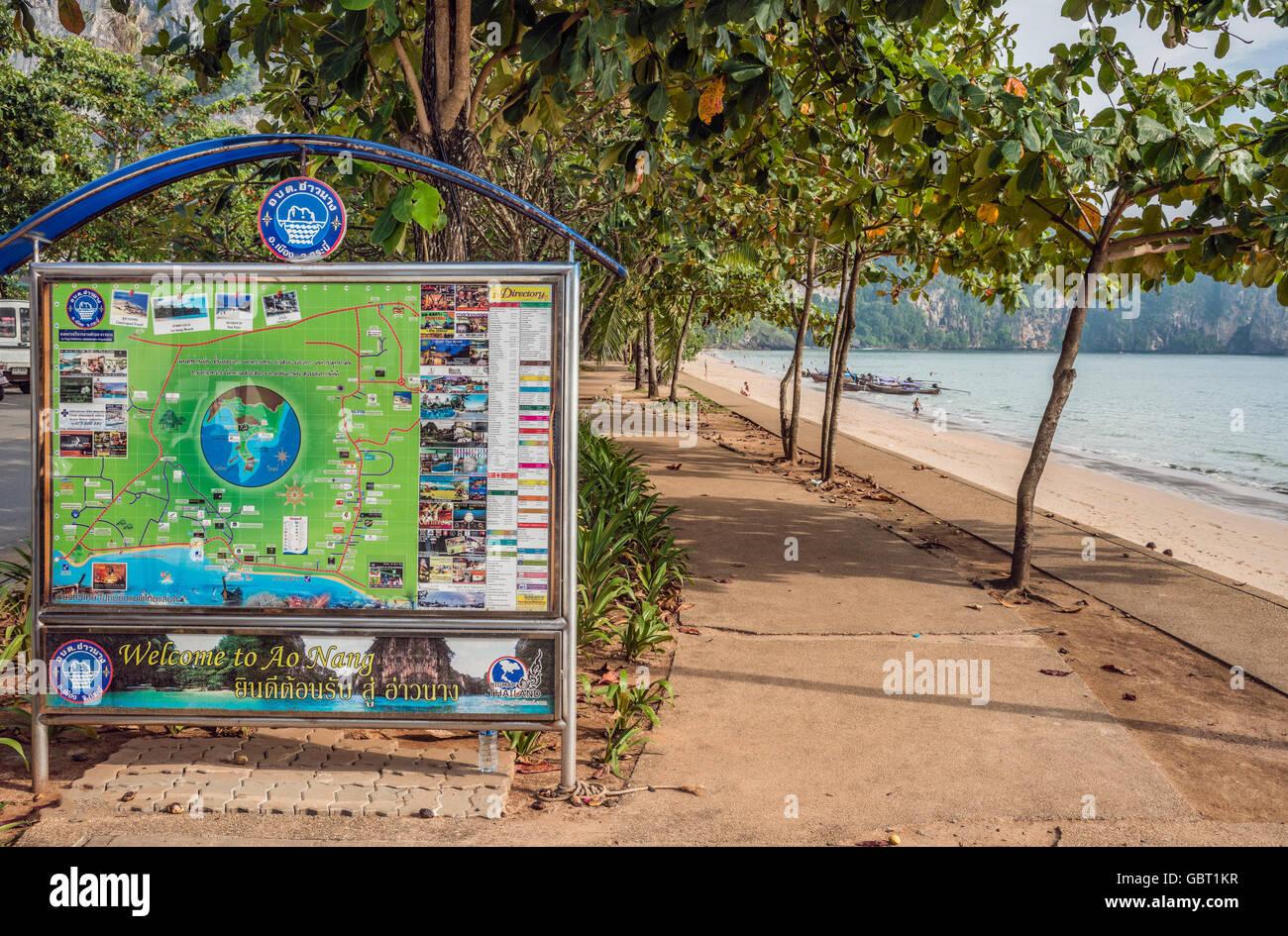 Tourist Map at Ao Nang Beach near Krabi, Thailand | Touristen-Karte am Strand von Ao Nang, Thailand - Stock Image