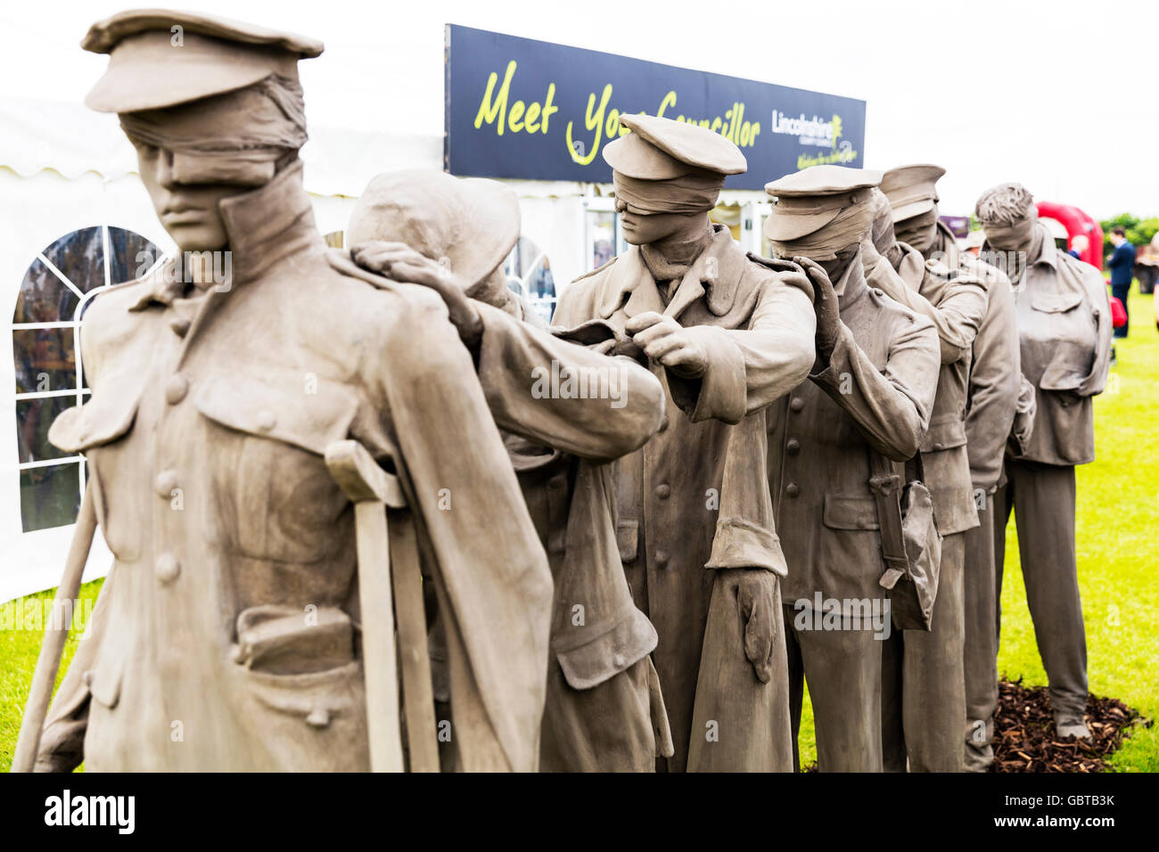 WW2 prisoners blinded in war sculpture wounded maimed hurt blind soldiers UK England GB - Stock Image
