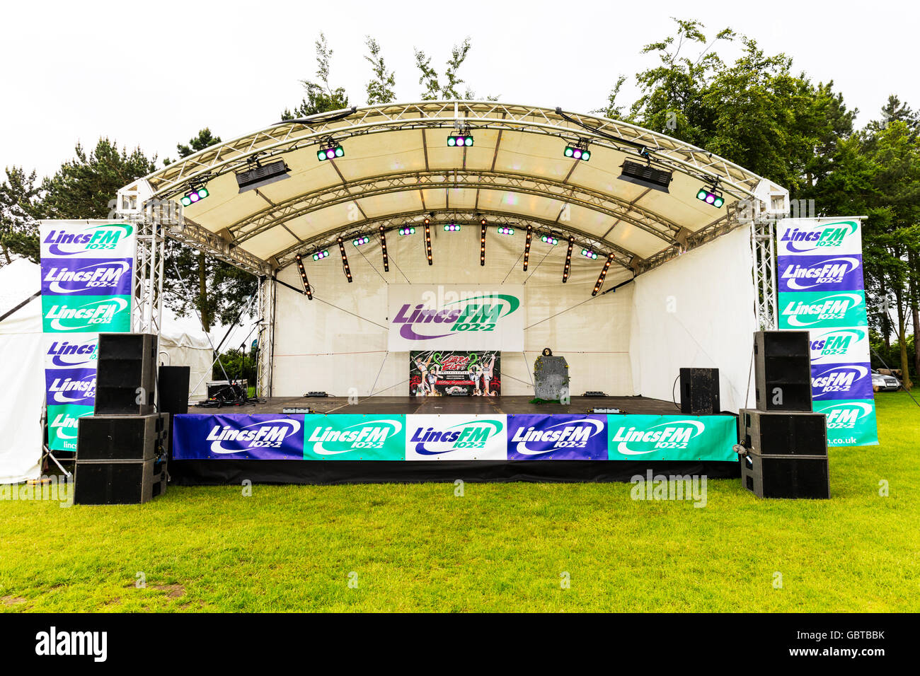 Empty stage setup lights lighting sound speakers waiting for show Lincs FM radio station UK England GB - Stock Image