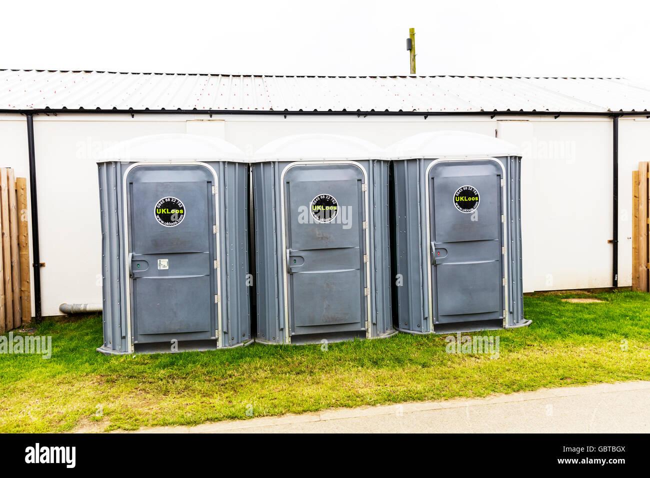 Portaloo porta loo loos cabin portakabin hire toilet toilets restroom restrooms UK England GB - Stock Image