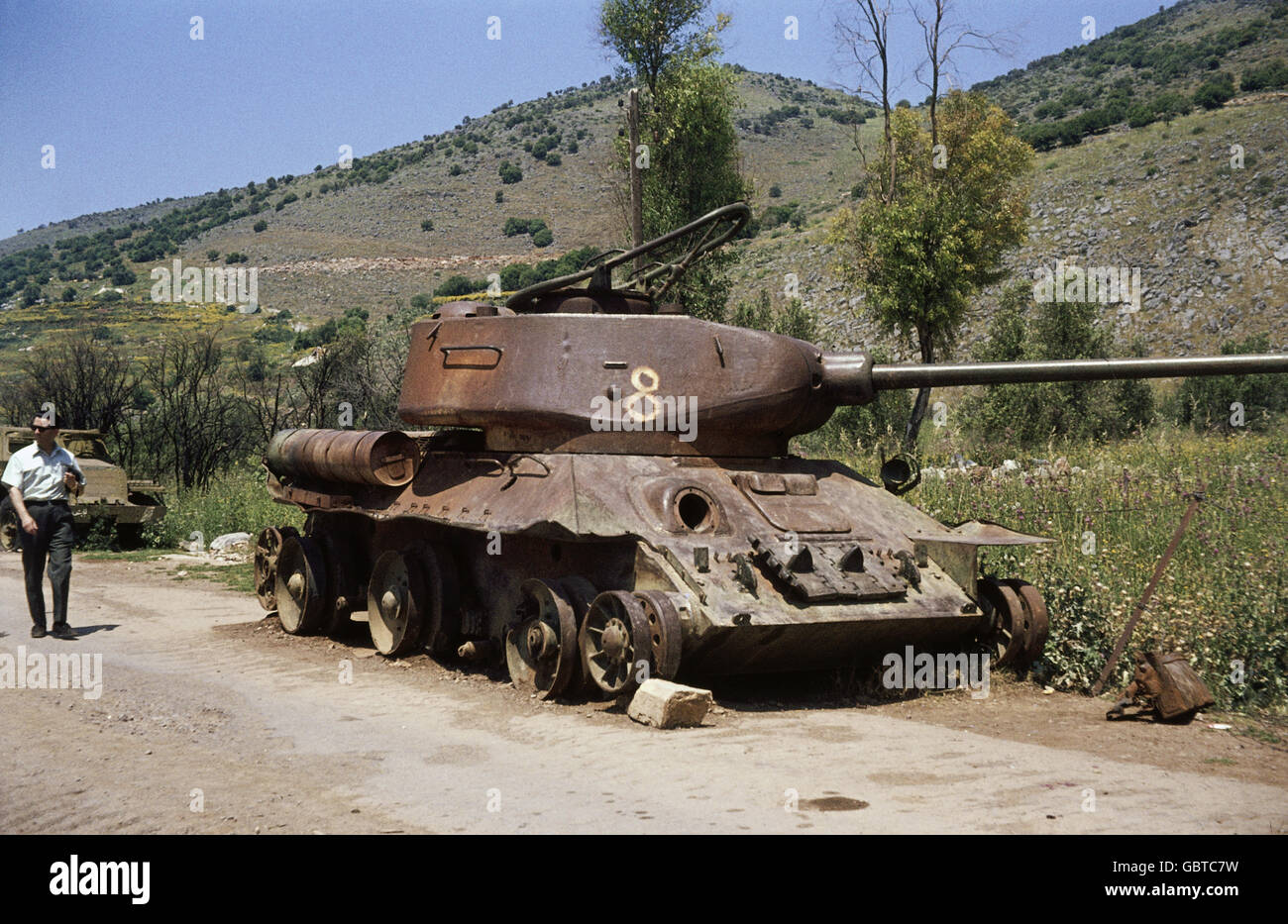 geography / travel, Syria, Golan Heights, wreck of a Syrian tank