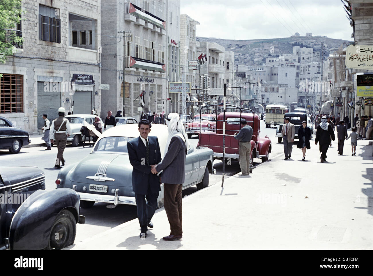 geography / travel, Jordan, Amman, street scene, pedestrians and parked cars, 1955, Additional-Rights-Clearences - Stock Image