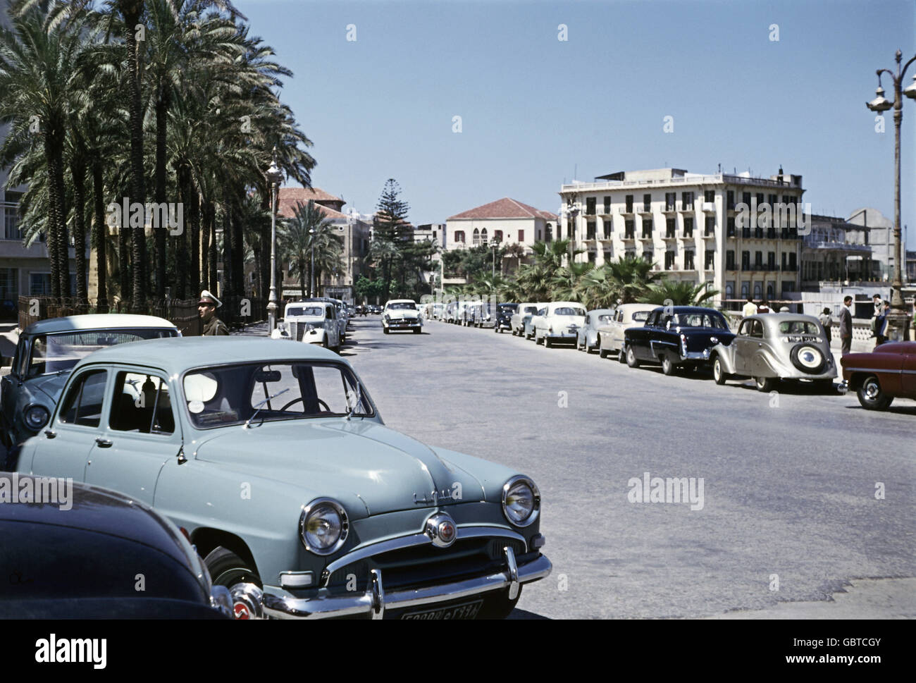 geography / travel, Lebanon, Beirut, street scene, parked cars, 1955, Additional-Rights-Clearences-NA - Stock Image