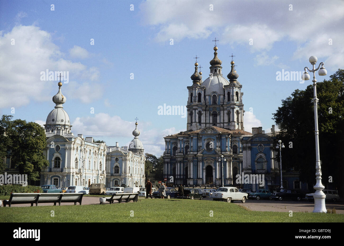 geography / travel, Russia, Sankt-Peterburg, city view, Smolny Monastery with the Ascension Cathedral, built: 1748 - Stock Image