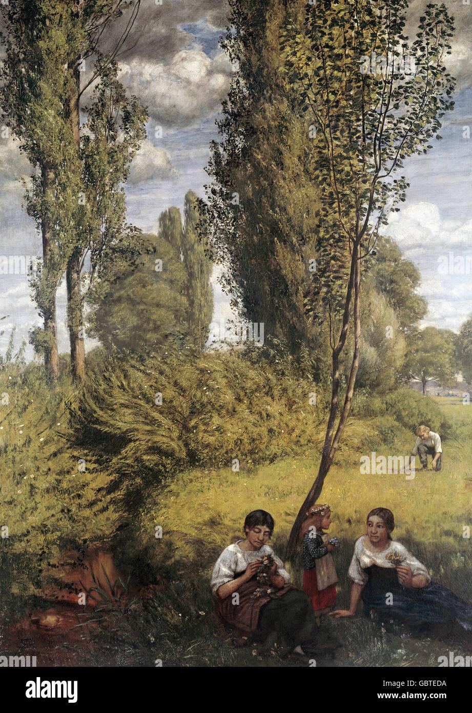"fine arts, Thoma, Hans (1839 - 1924), painting ""Landschaft am Oberrhein"" (Landscape on the Upper Rhine), 1888, Stuttgart, Stock Photo"