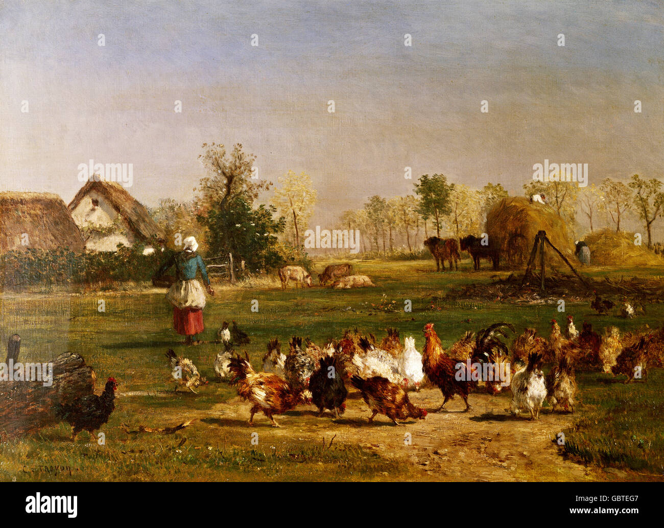 fine arts, Troyon, Constant (1810 - 1865), painting, 'Farmyard With Chickens', Musee du Louvre, Paris, - Stock Image