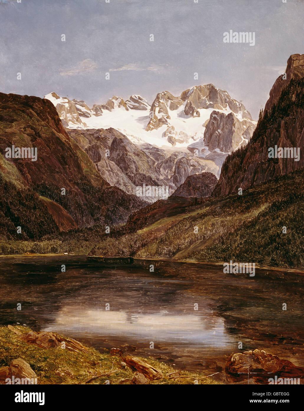 fine arts, Waldmueller, Ferdinand Georg (1793 - 1865), painting, 'Der Dachstein mit dem Gosausee' (Mount - Stock Image