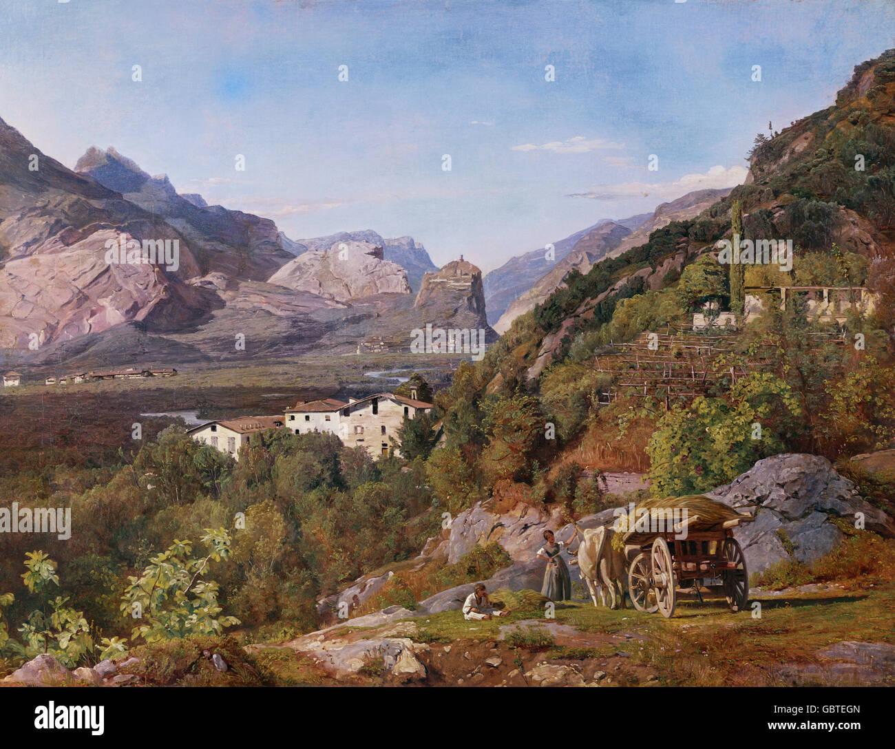 fine arts, Waldmueller, Ferdinand Georg (1793 - 1865), painting, 'Blick auf Arco' (View of Arco), 1841, - Stock Image