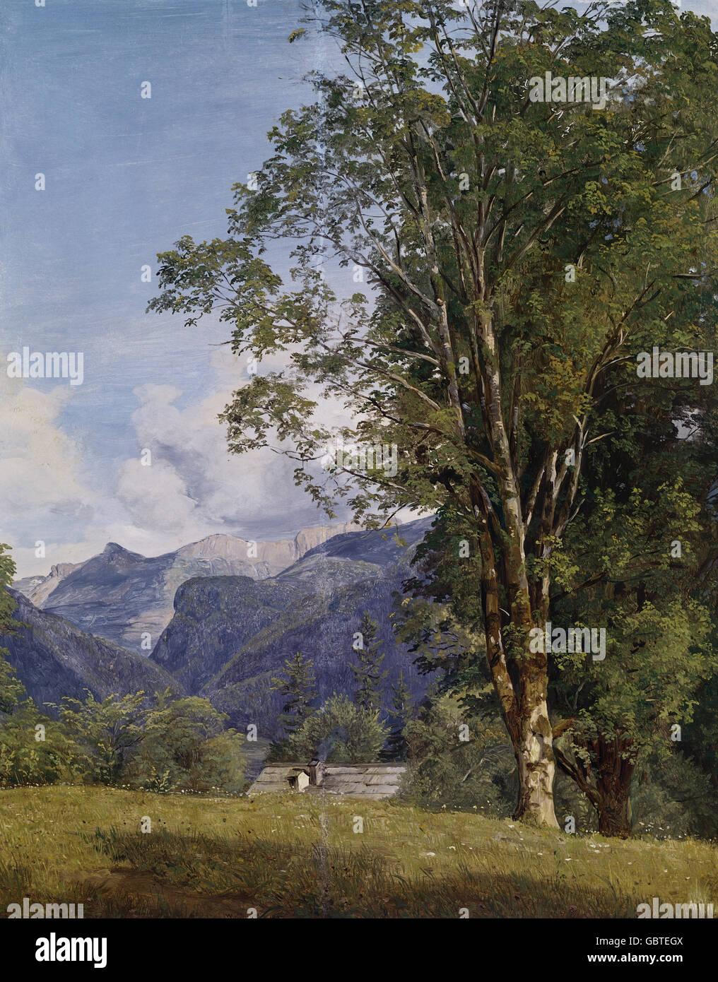 fine arts, Waldmueller, Ferdinand Georg (1793 - 1865), painting 'Das Dorf Ahorn bei Ischl' (The Village - Stock Image