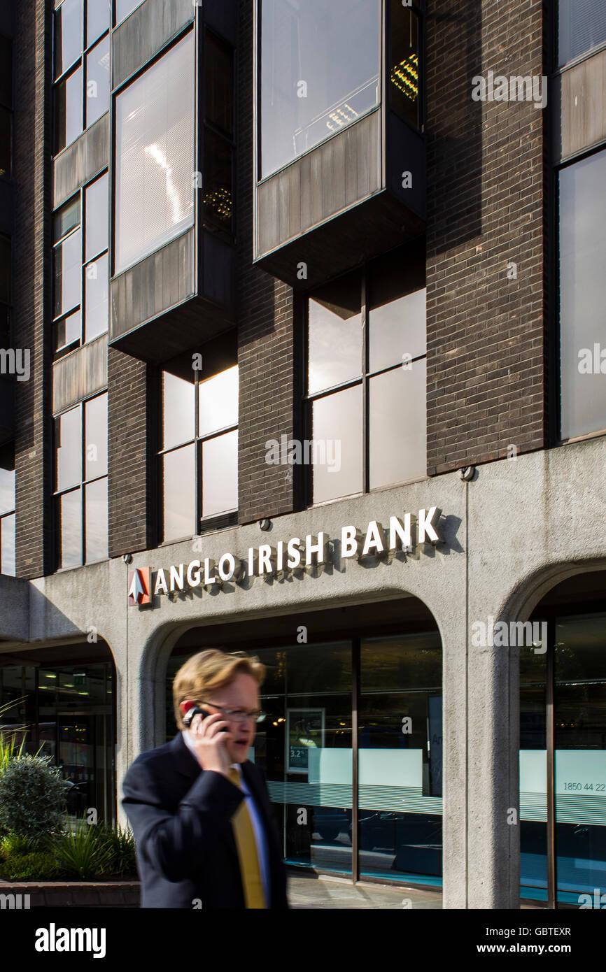 anglo irish bank dublin ireland building sign logo - Stock Image
