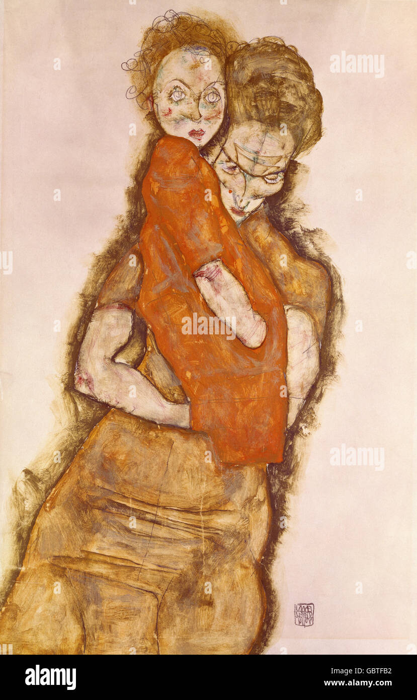 fine arts, Schiele, Egon, (1890 - 1918), painting, 'Mutter und Kind', (mother and child), 1914, mixing technique, - Stock Image