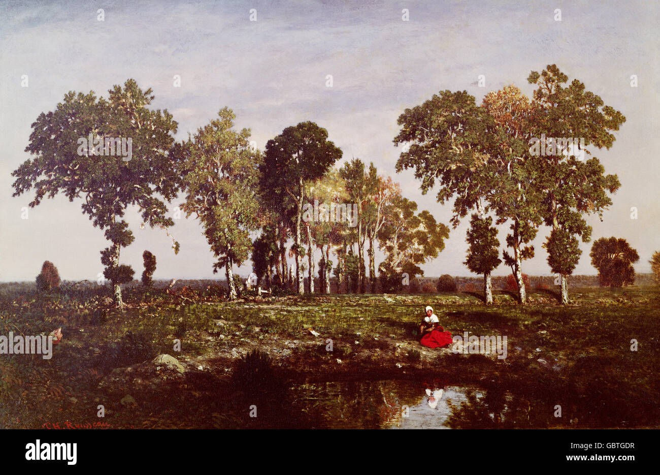The Puddle by Theodore Rousseau - Stock Image