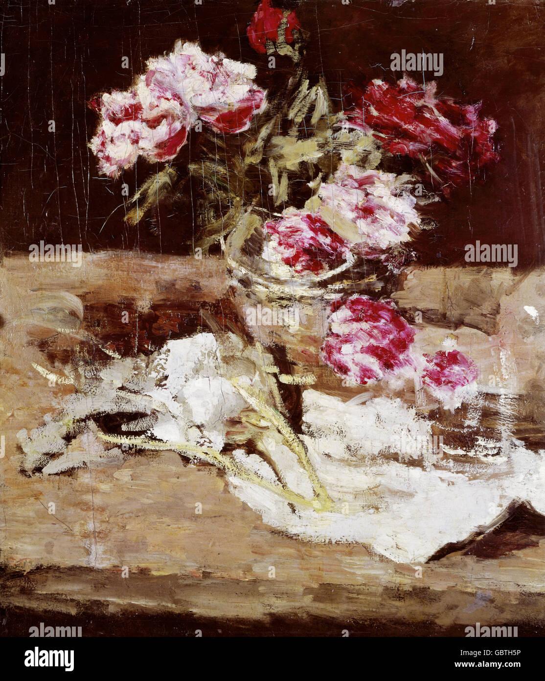 fine arts, Schuch, Karl (1846 - 1903), painting, 'Peonies', oil on canvas, circa 1885, Neue Pinakothek, - Stock Image