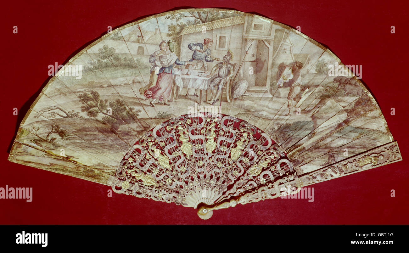 fine arts, fan, painted, probably baroque, 18th century, - Stock Image