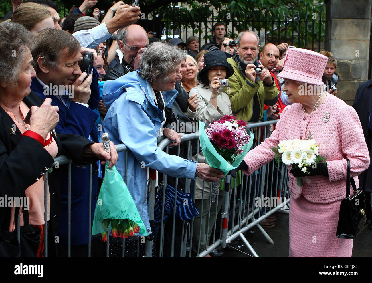 Britain's Queen Elizabeth II meets members of the public after attending a service at Cannongate Church in Edinburgh. Stock Photo