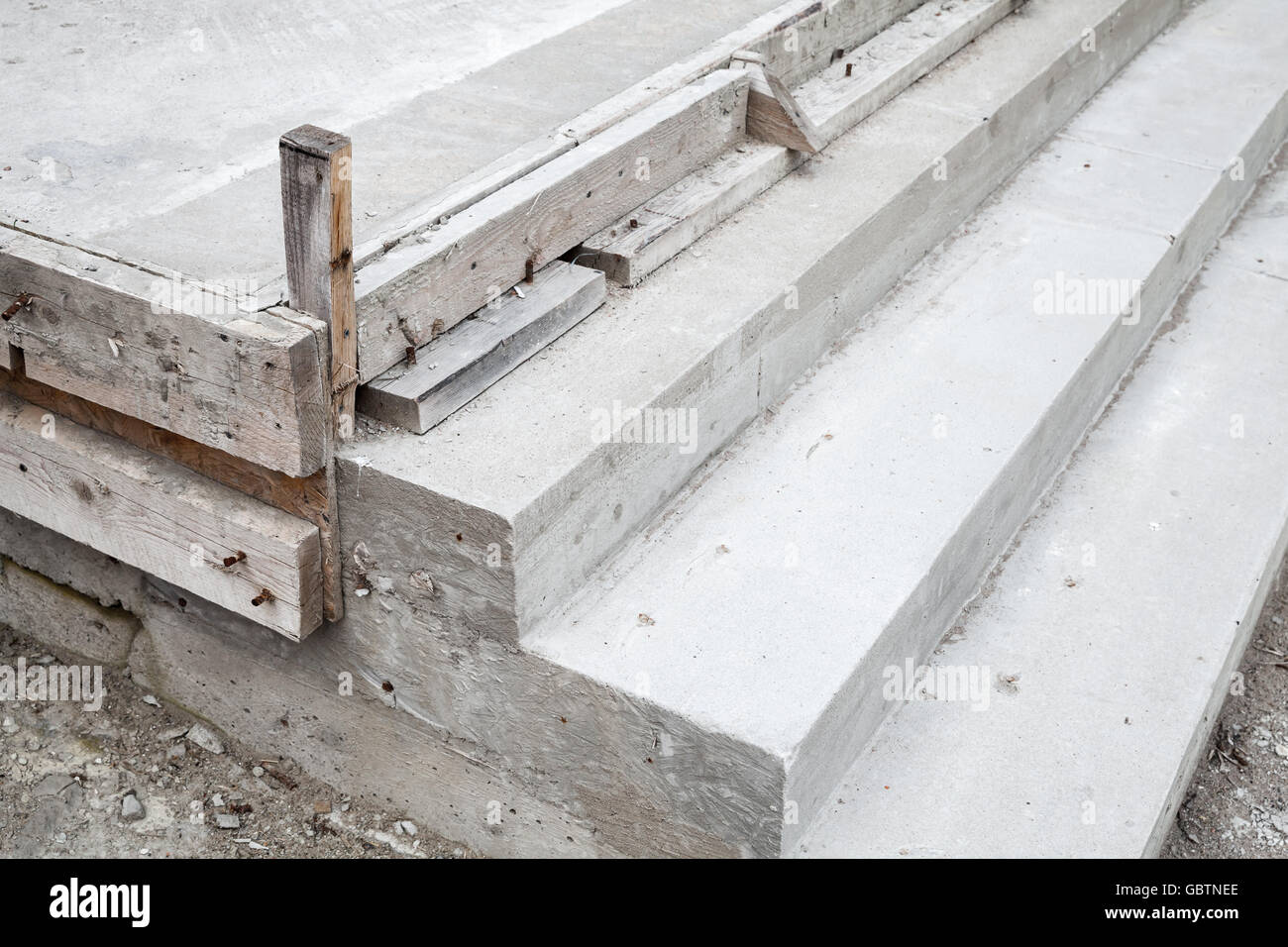 White Stairs Under Construction, Concrete Steps And Timber Forms