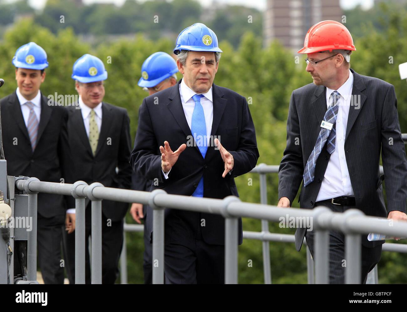 Gordon Brown visits Thames Barrier Stock Photo