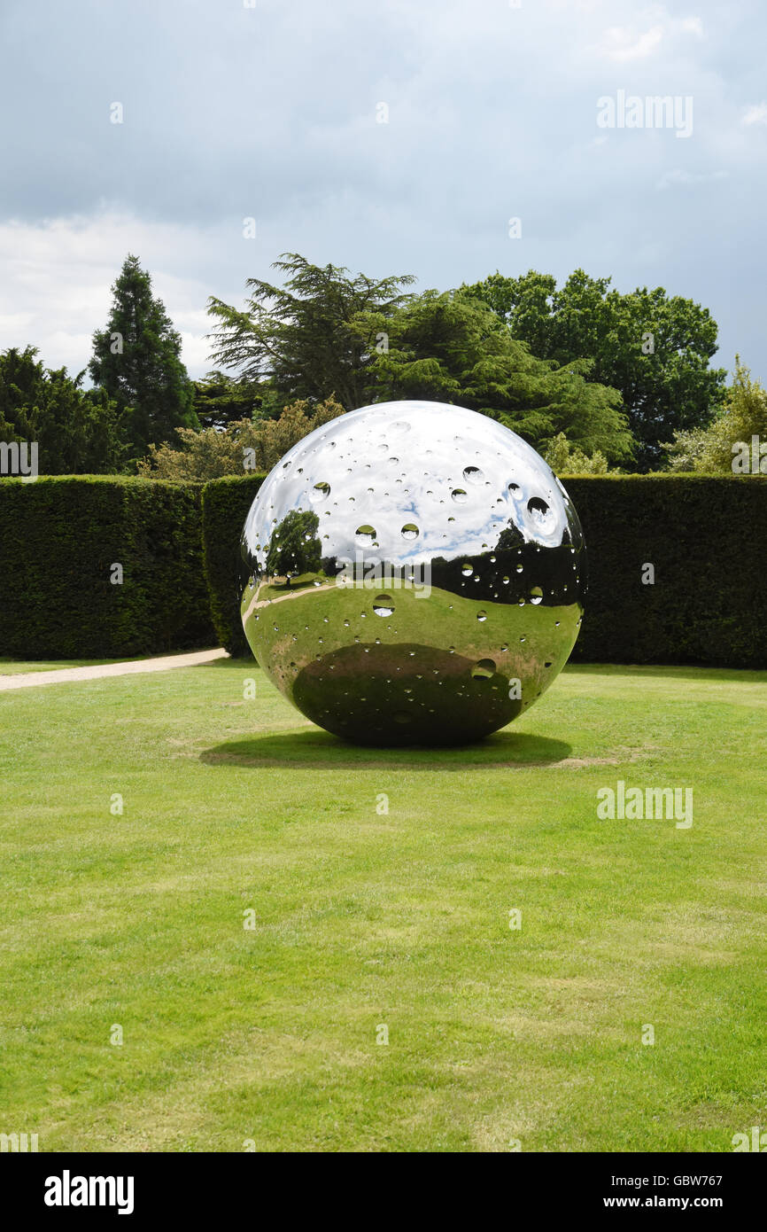'Moon' a stainless steel sculpture by Not Vital, displayed in the grounds of the Yorkshire Sculpture Park, - Stock Image