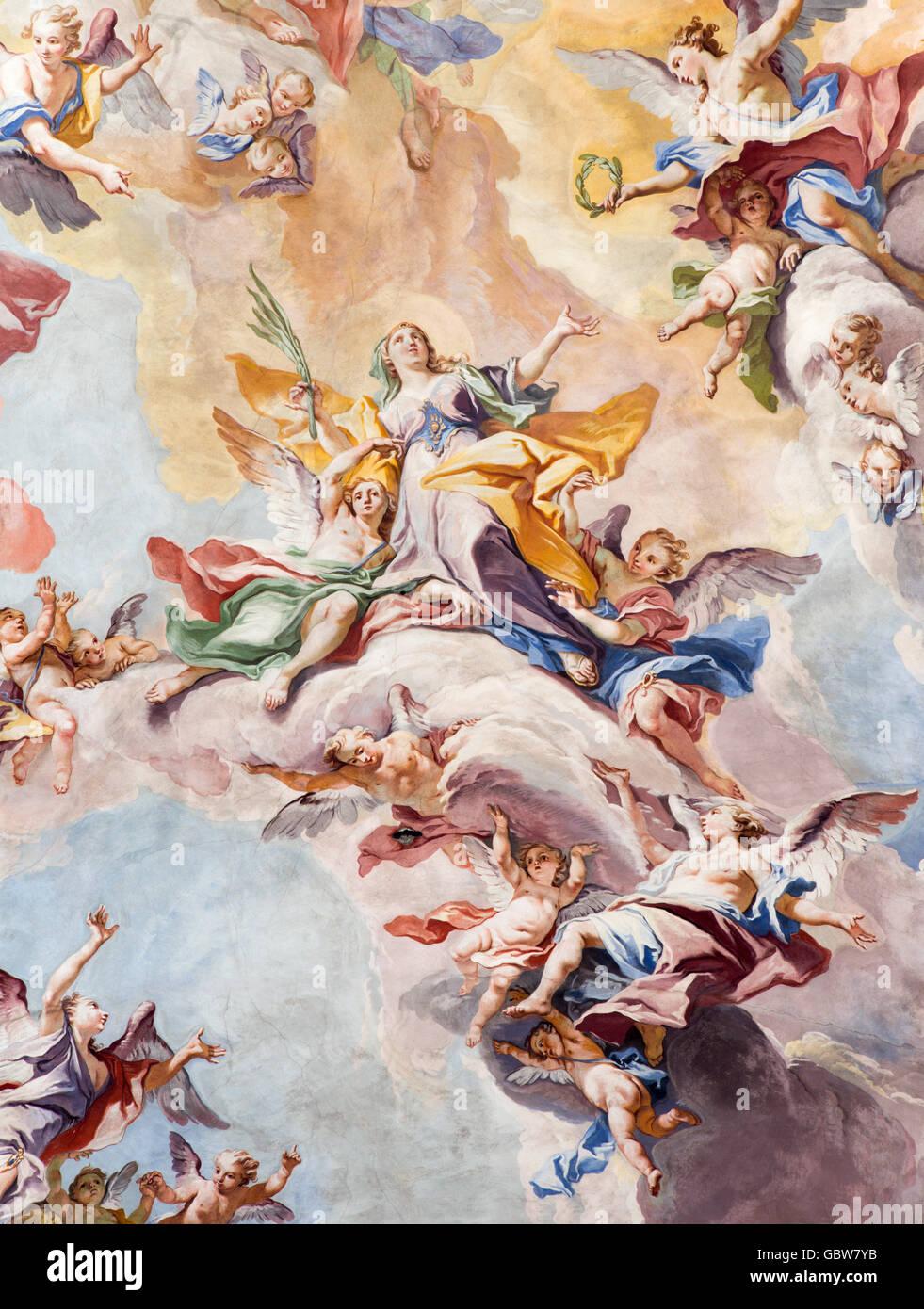 BRESCIA, ITALY - MAY 23, 2016: The Glory of Santa Eufemia fresco on the wault of presbytery of Sant'Afra church - Stock Image