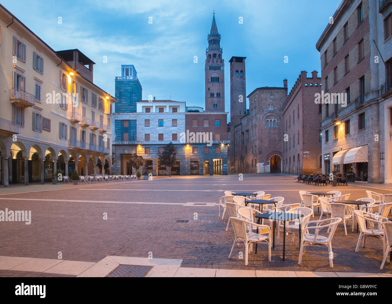 CREMONA, ITALY - MAY 24, 2016: The Piazza Cavour square at dusk. - Stock Image