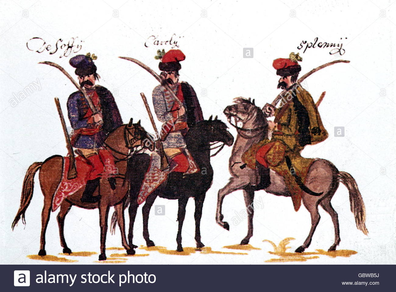 military, Austria, cavalry, Hungarian hussars, Rhine army 1734, drawing by Franz Philipp von Gudenus (1710 - 1783), - Stock Image