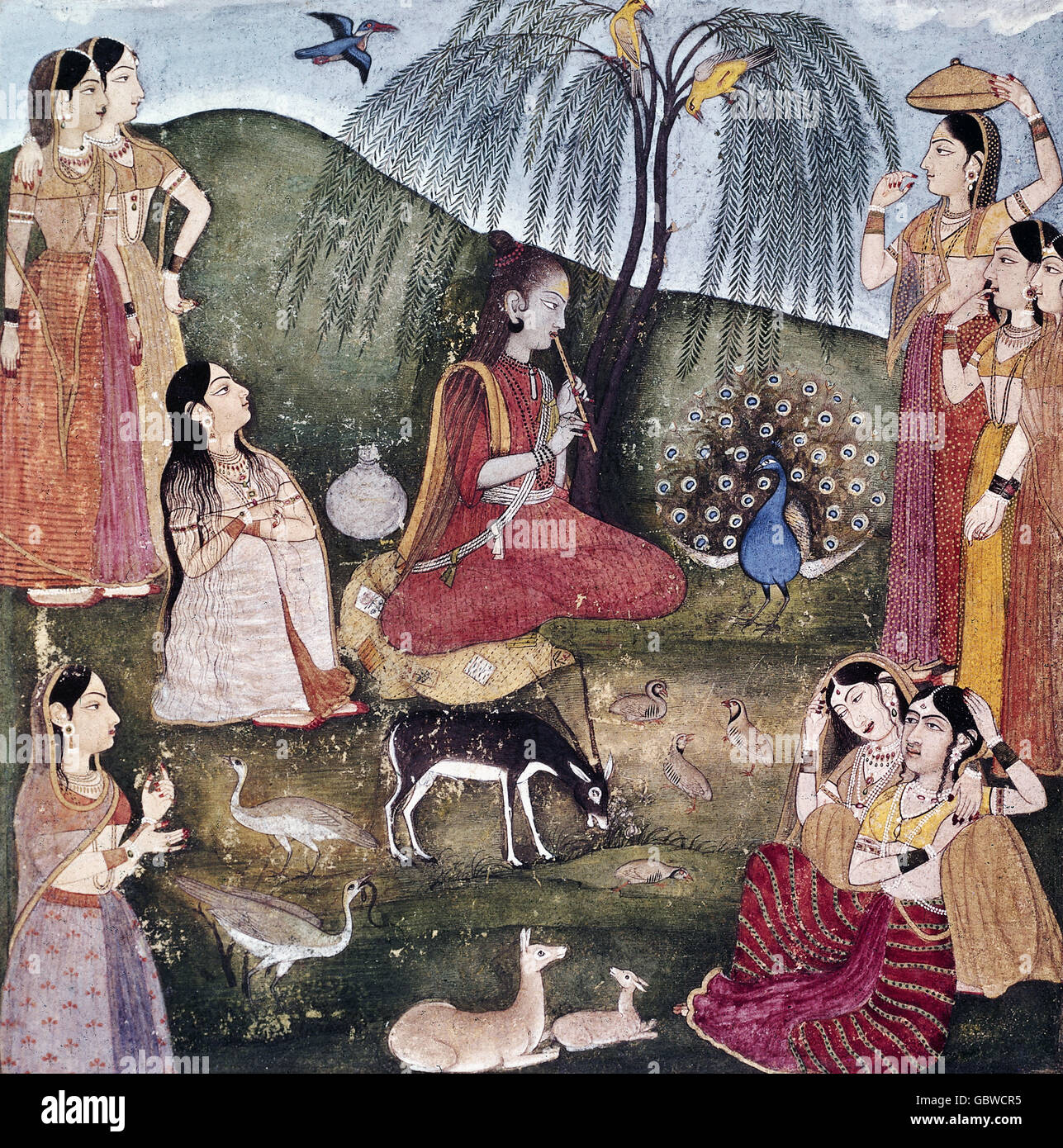 fine arts, India, miniature, miniatures, 'The wounderful Playing of the Flute', circa 1700, National Museum, - Stock Image