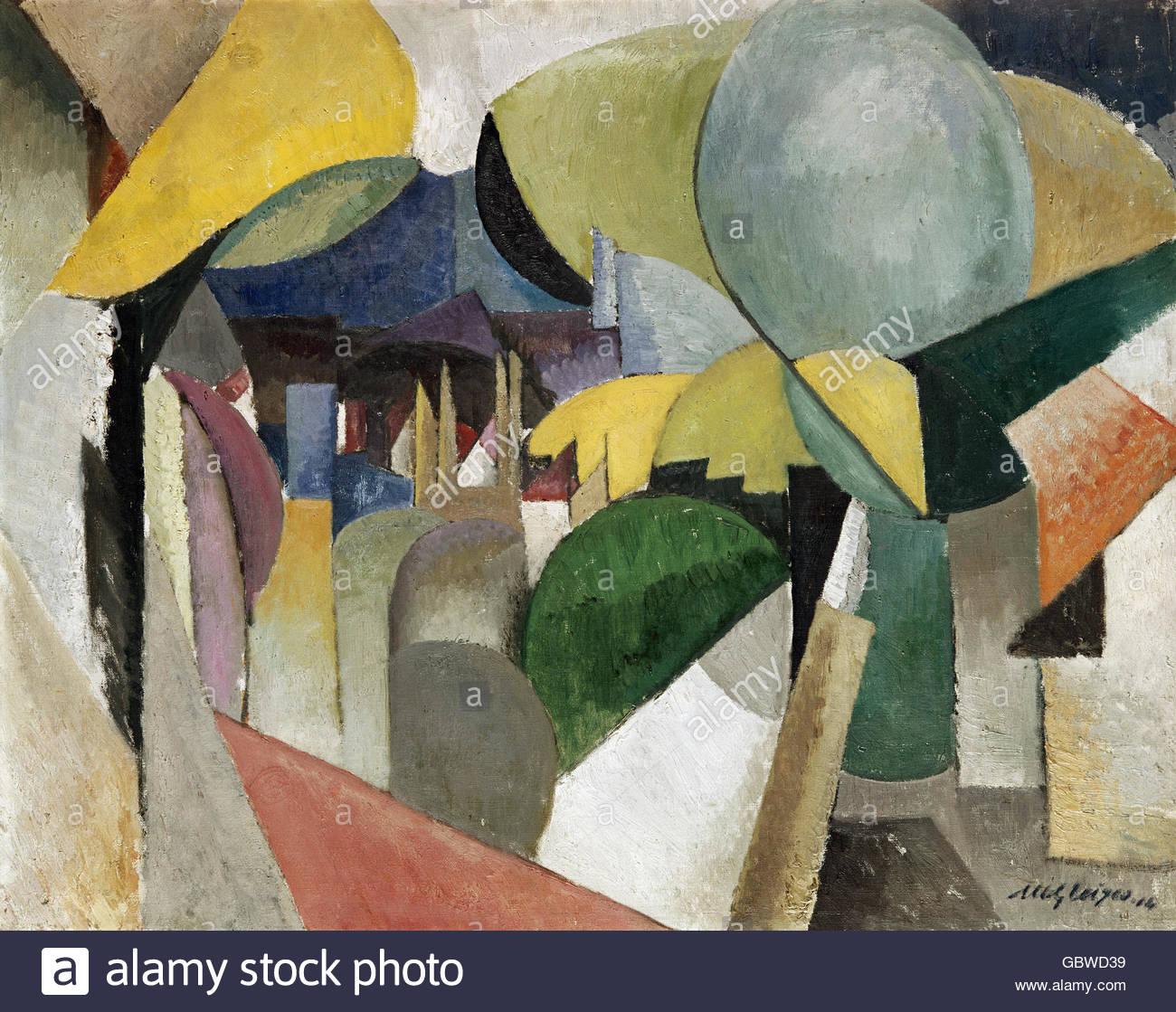 fine arts, Gleizes, Albert, (1881 - 1953), painting, 'landscape near Montreuil', 1914, Saarland Museum, - Stock Image