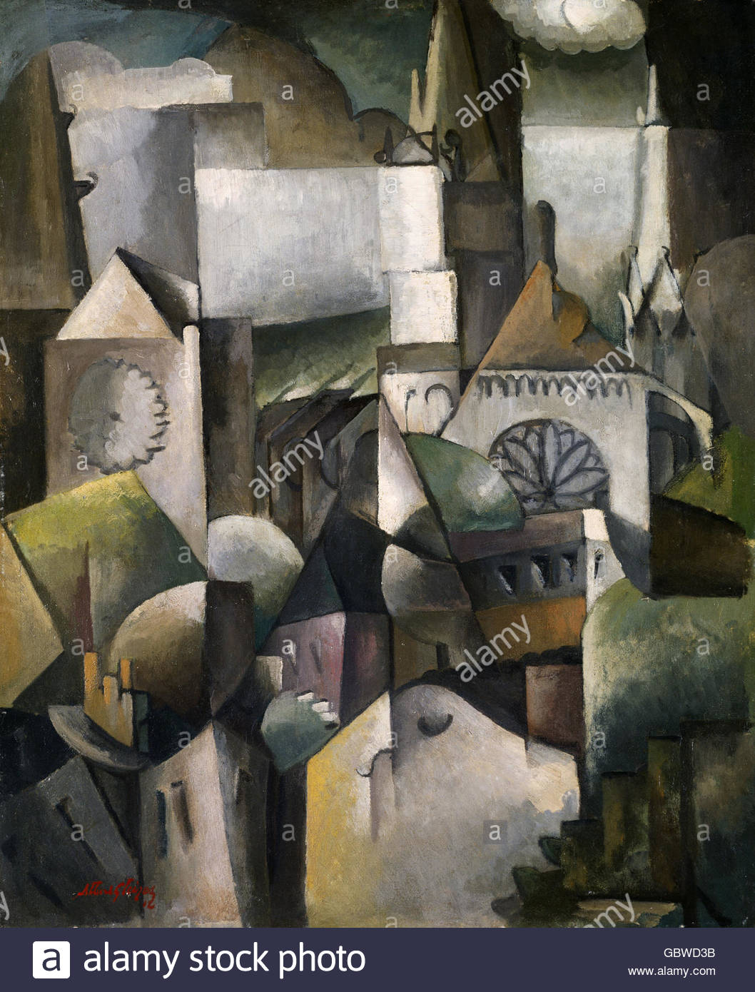 fine arts, Gleizes, Albert, (1881 - 1953), painting, 'The Cathedral of Chartres', 1912, Hanover, Artist's - Stock Image