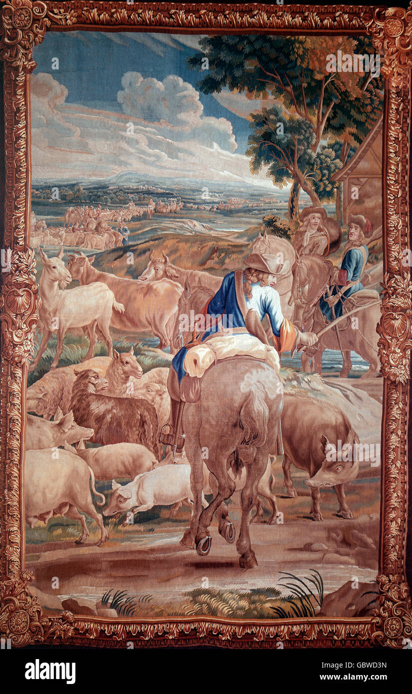 Rider with herd, tapestry, circa 1700 - Stock Image