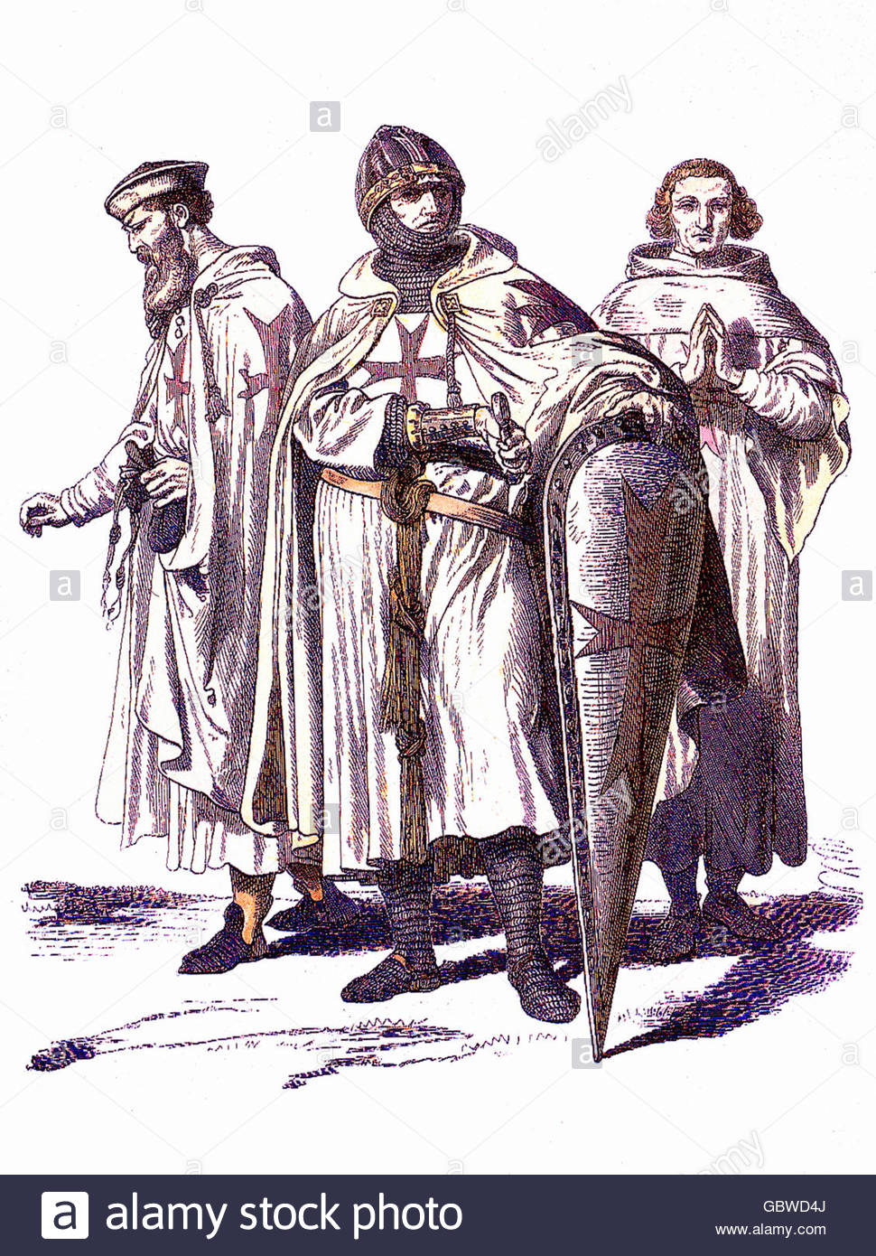 Middle Ages, knight's orders, Knights Templar, (Pauperes commilitones Christi templique salomonis, founded in - Stock Image