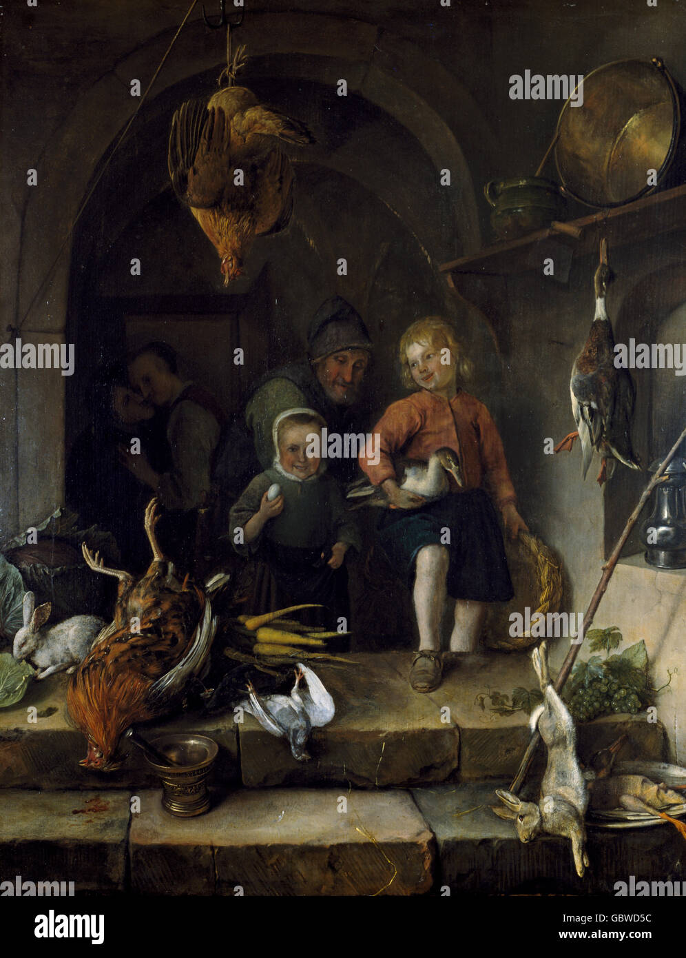 people, three generations, genre painting with family and food, by Jan Steen (1626 - 1679), Netherlands, 17th century, - Stock Image