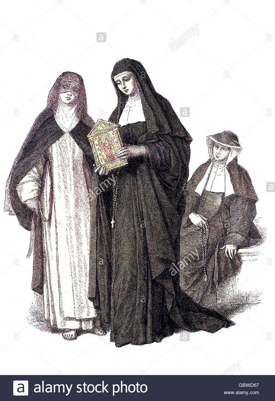 religion, clergymen, nuns, capuchin (Ordo Sanctae Clarae Capuccinarum OSClCap) in habit, late 18th century, engraving - Stock Image