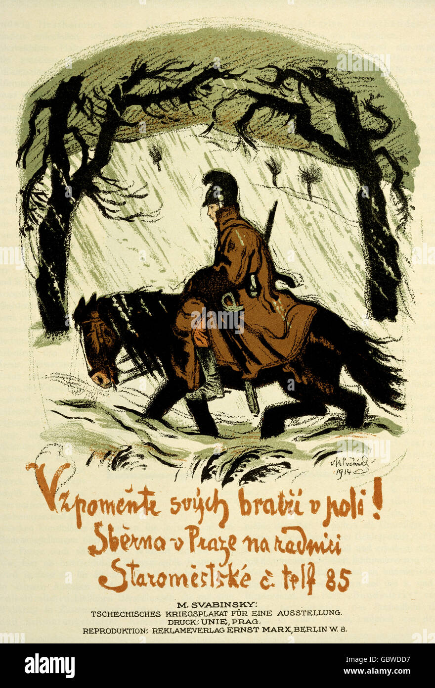 events, First World War / WWI, propaganda, Austria-Hungary, poster for an exhibition of Czech artists at war, by - Stock Image