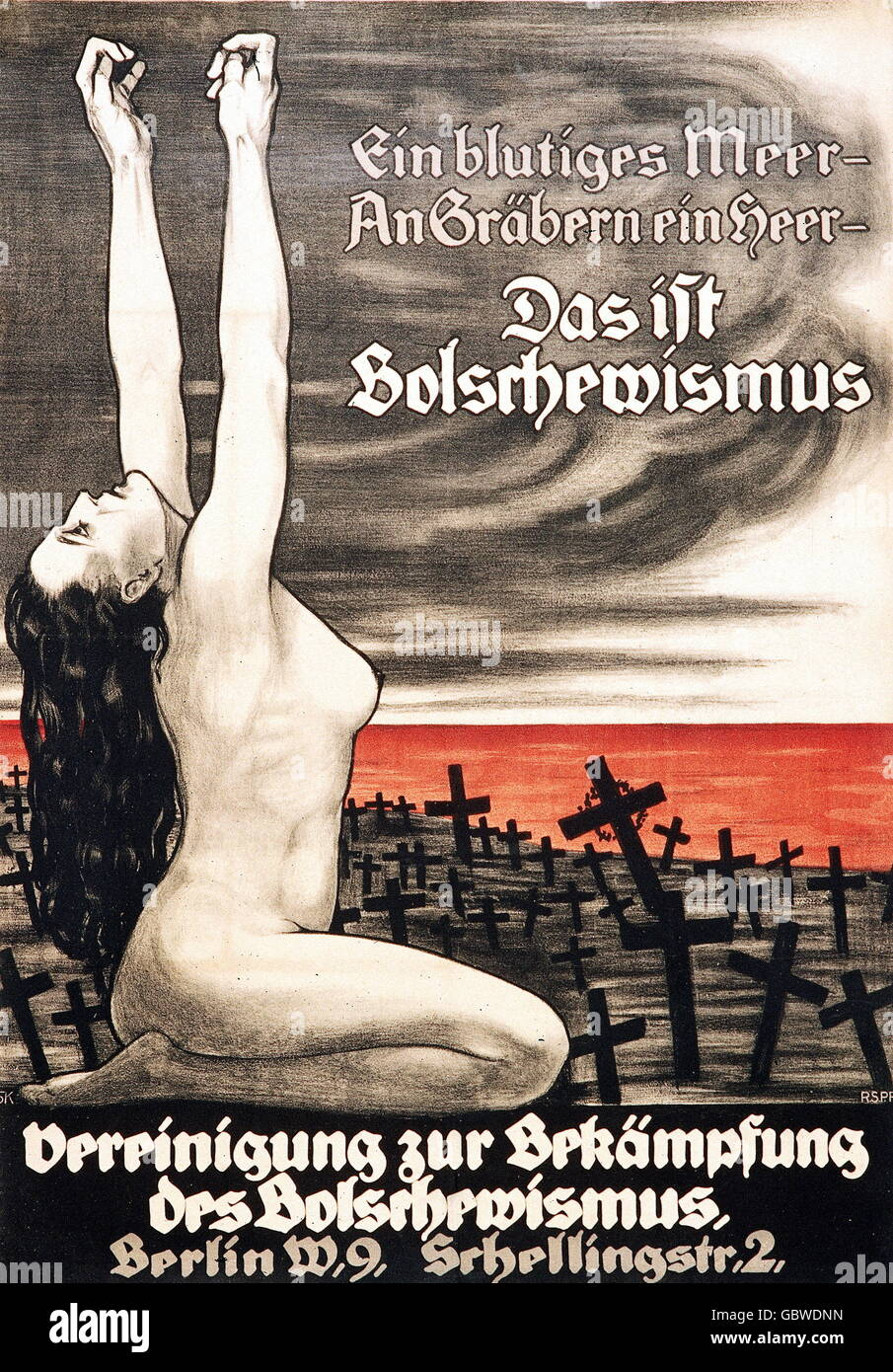 geography / travel, Germany, politics, propaganda against communism, poster of the union of force against the Bolshevism, - Stock Image