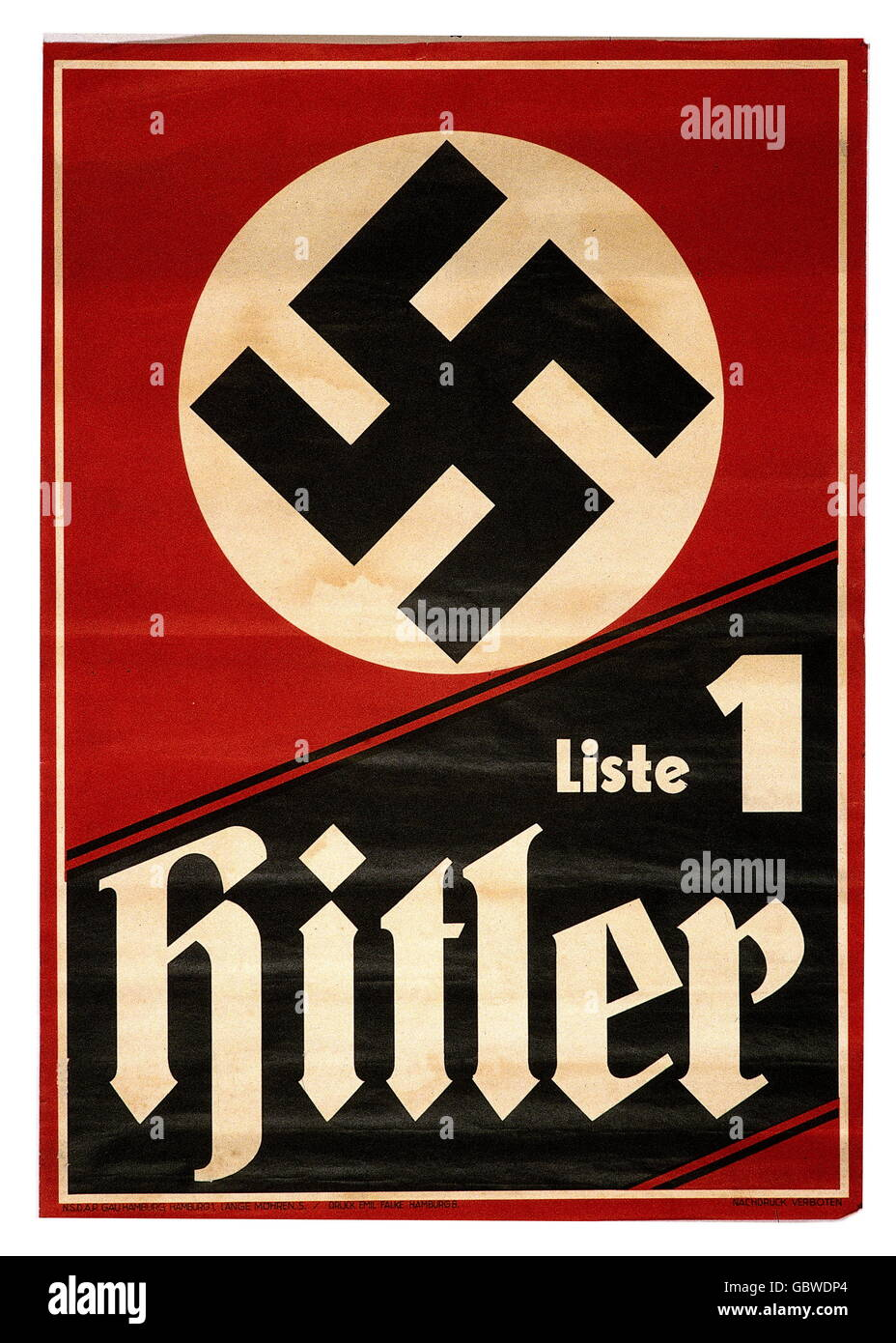 geography / travel, Germany, politics, Reichstag election 6.11.1932, election poster of the NSDAP, 'Liste 1 - Stock Image