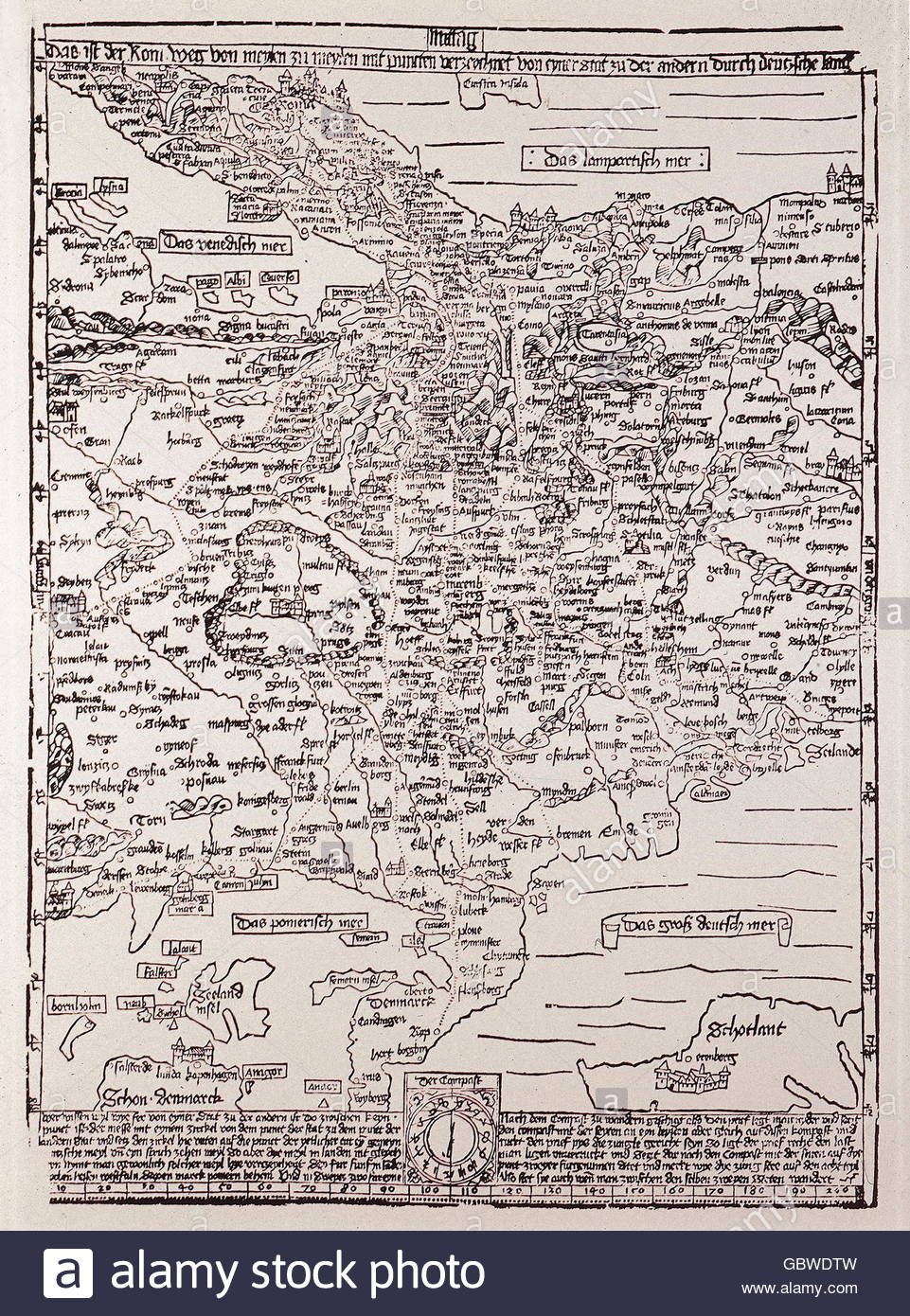 cartography, maps, Central Europe, 'Romweg' Map of Erhard Etzlaub, woodcut, Nuremberg, 1500, , Additional - Stock Image