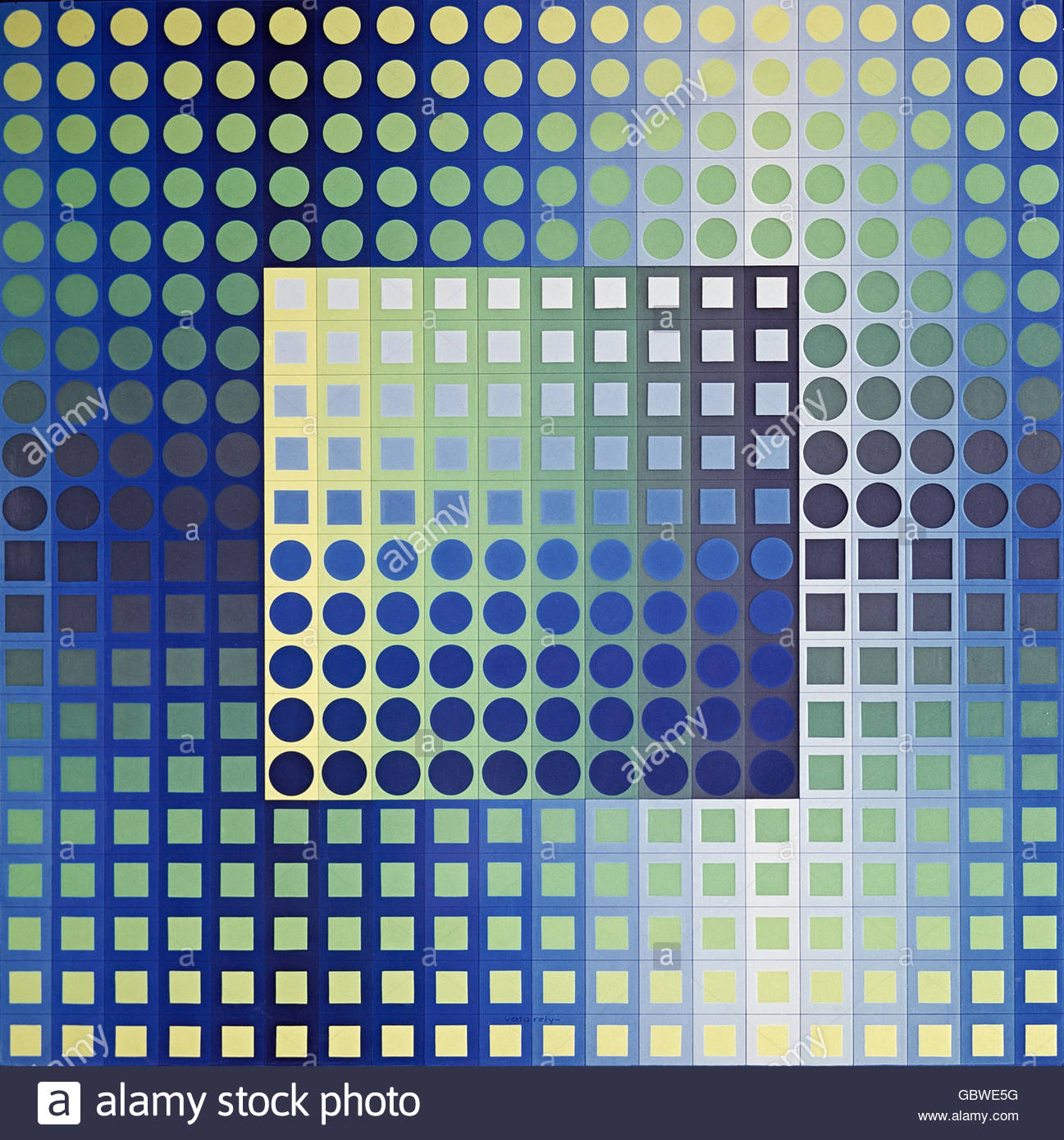 fine arts, Vasarely, Victor (1906 - 1997), painting, 'Zett-KZ', 1966, Westphalian State Museum for Art and - Stock Image