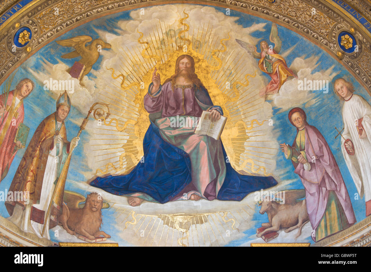 CREMONA, ITALY, 2016: Fresco of  Redeemer with Cremona's Patron Saints in Cathedral of Assumption of the Blessed Stock Photo