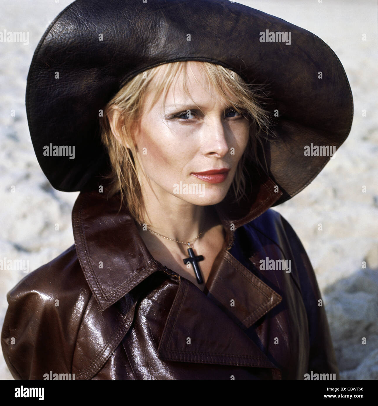 fashion, 1970s, ladie's fashion, woman with leather hat and leather jacket, Additional-Rights-Clearences-NA - Stock Image