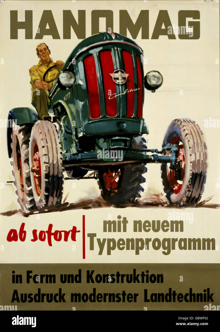 advertising, automobiles, Hanomag, advertisement for agricultural technology with an imgage of a Hanomag Combitrac - Stock Image