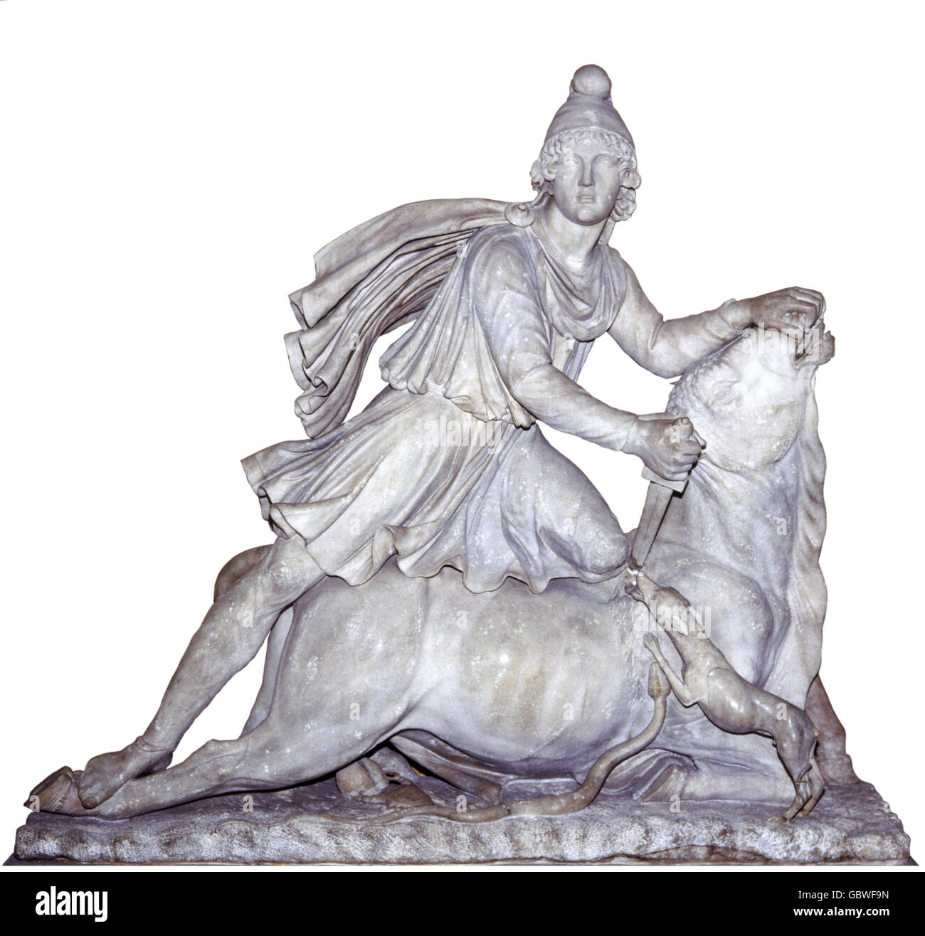 fine arts, ancient world, Roman Empire, sculpture, tauroctony, Mithras killing the bull, statue, marble, Upper Italy, - Stock Image