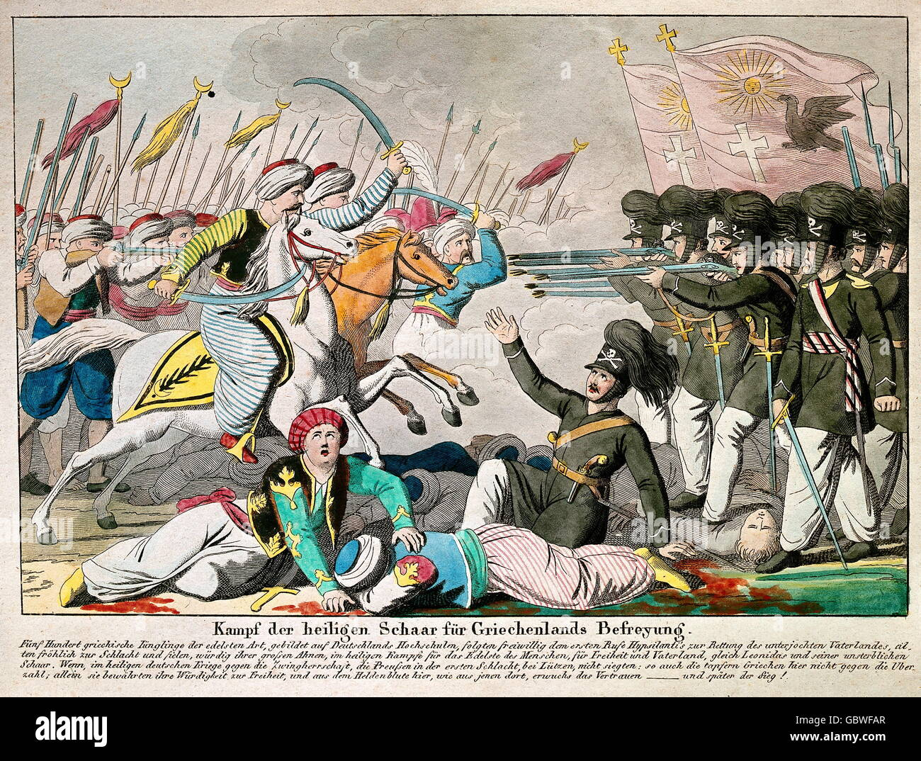 geography / travel, Germany, Greece, war of independence, 1821 - 1829, The  Sacred Band of Thebes figthing against the Turk, Turkish men, print,  published by ...