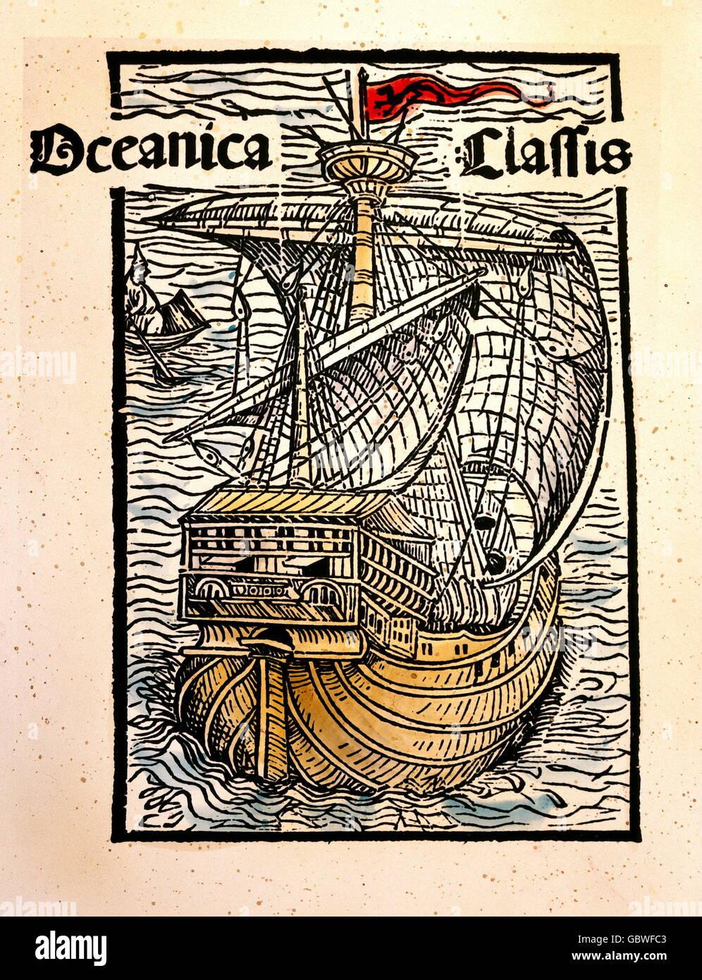 transport / transportation, navigation, ship, caravel, illustration to the letter of Christoph Columbus about the - Stock Image