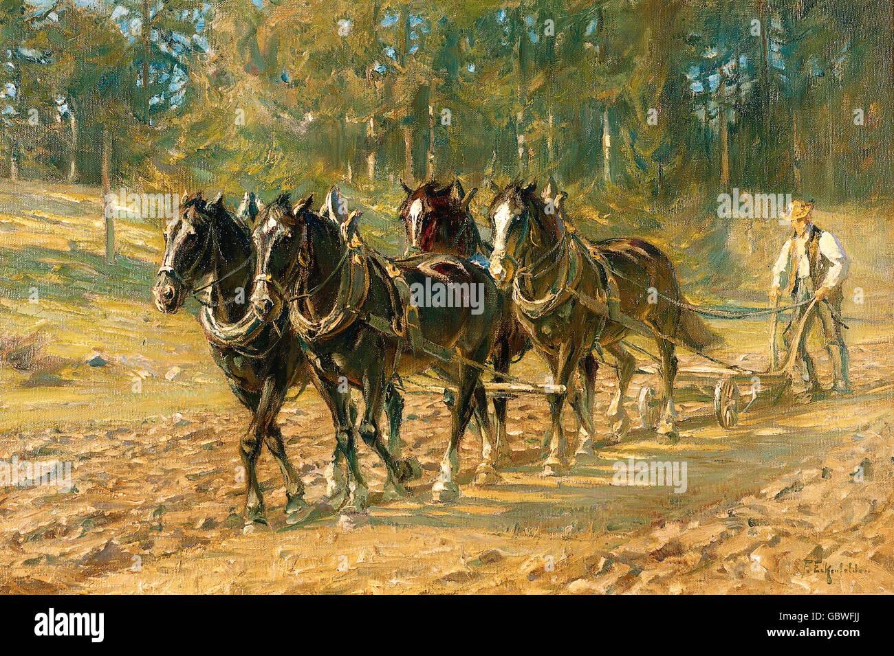 Fine Arts, Eckenfelder Friedrich (1861 1938), Painting U0027Bauer Beim Pfluegen