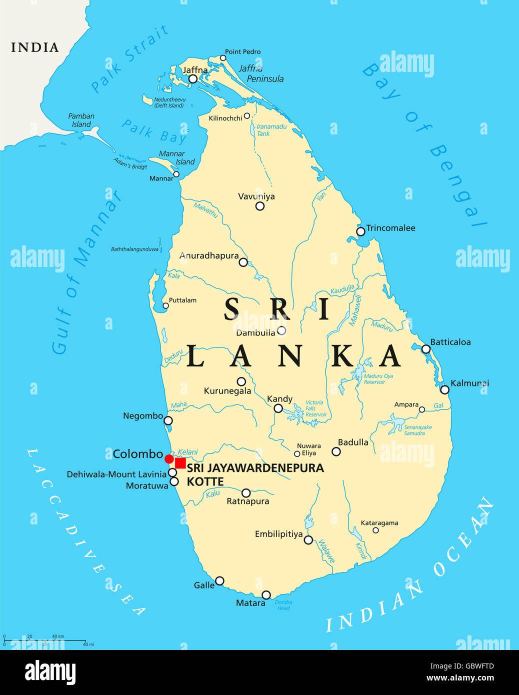 Sri Lanka political map with capitals Sri Jayawardenepura Kotte and ...