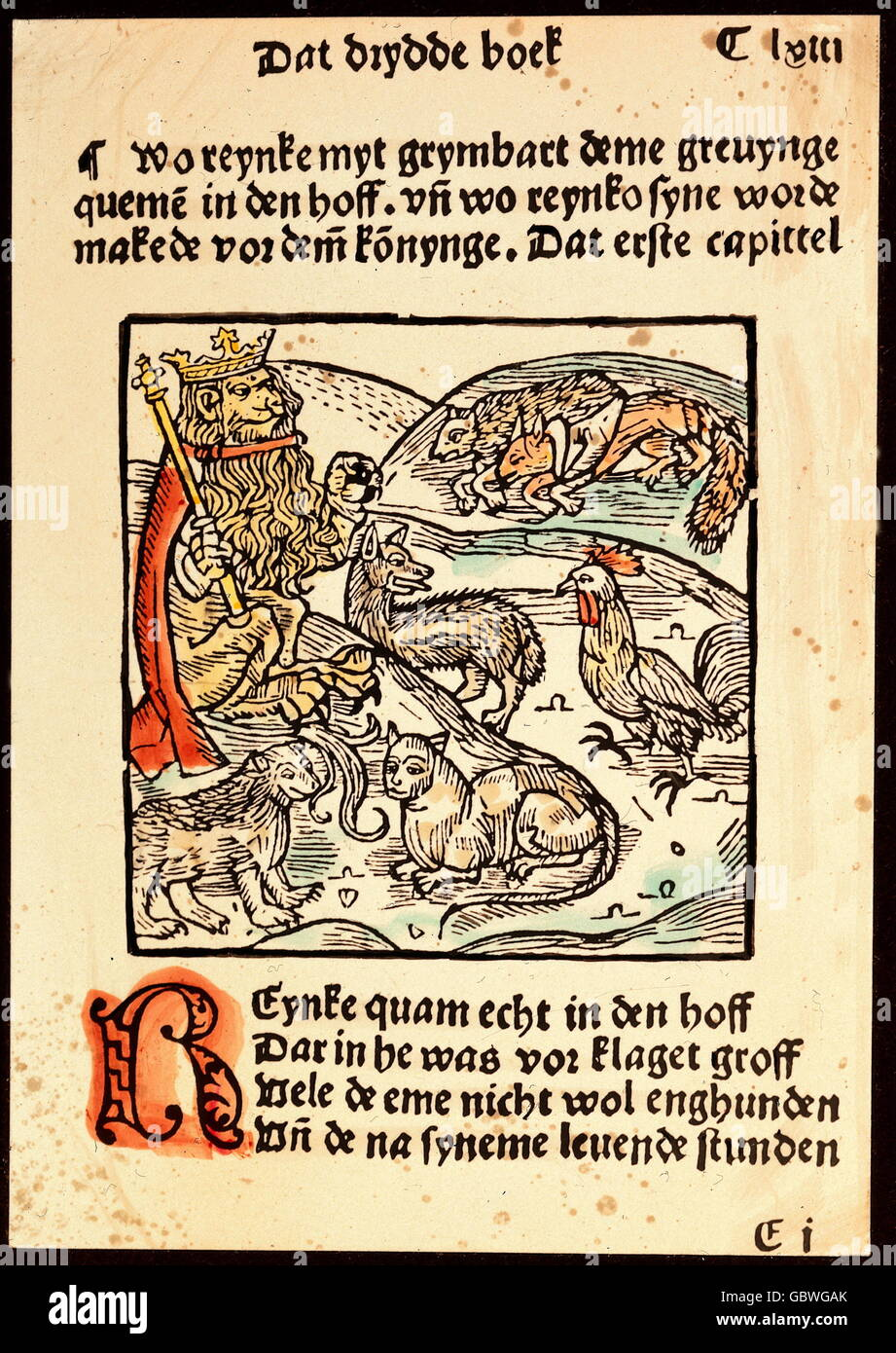 literature, 'Reinecke Fuchs', fable by Heinrich of Glichesaere, circa 1185, 3rd book, king Nobel in judgment, - Stock Image